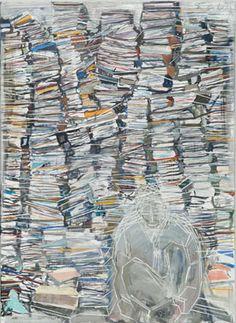 Mann mit Hintergrund (Man With Background) oil on canvas painting by Thomas Hartmann