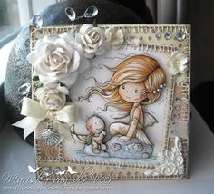 Love this gorgeous card. Amazing stitching and beautifully coloured image. Wee Stamps by Sylvia Zet. Coloured and paper pieced by Mariska van der Veer. Found on her blog - Sending you a little smile :)