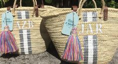Monogrammed straw bag, personalized beach bag, custom initialed tote