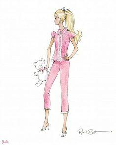Nighty Night ♡ Sweet Dreams   #Barbie #Goodnight #Tuesday #Pink #pinkclub #barbieclub #Teddy #Love #Glamorous #Cute #adorable #Vintage #illustration #Fun #art #sweetdreams