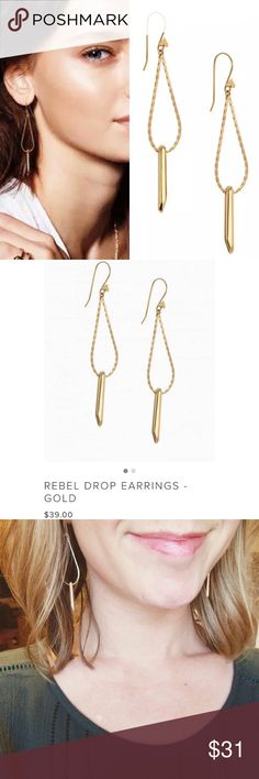 """20% off Stella & Dot Rebel Drop Earrings - Gold This pair has been my go-to earrings for a long time.  Modern and sleek, these timeless, wear-with-all earrings pair perfectly with our bestselling Rebel Pendant. Featuring a similar rebel bar suspended from an elegant loop. * 3"""" drop length. * Medium weight. * Sterling silver earwire.   Bought many Stella&dot as gifts for my friends and clients. Selling the extras. NWT  📦Fast shipper: same day or next morning depending on when purchased…"""