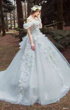 tiglily bridal 2016 off shoulder semi sweetheart ball gown wedding dress (bella) appliques mv romantic princess