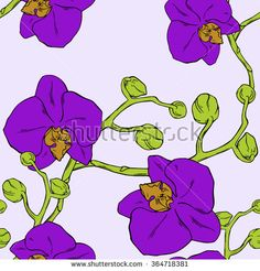 Seamless vector floral  orchid pattern - stock vector