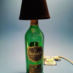 Glenfiddich® Liquor Bottle Table Lamp W/ Black Shade - Custom Hookahs, Lamps, Glass Tumblers, Custom Candles & More. Bottle Lamps, Bottle Art, Light Table, A Table, Tumblers, Black Table Lamps, Liquor Bottles, Fabric Shades, Shades Of Black