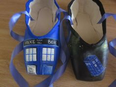 Hand painted TARDIS pointe shoes. $120.00, via Etsy.  There's probably no way I would wear these but.  AWESOME!!!!!!!! Now which board do I put it on