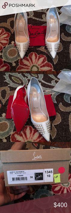 Women's white studded Christen Louboutin stilettos White spiked red bottoms worn twice .. Christian Louboutin Shoes Heels
