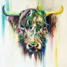 Katy Jade Dobson is a UK based oil painter from Yorkshire. Katy Jade Dobson uses a number of mediums to paint her amazing pieces. Highland Cow Painting, Highland Cow Art, Highland Cattle, Highland Cow Tattoo, Simple Acrylic Paintings, Watercolor Animals, Watercolour, Whimsical Art, Artist Canvas