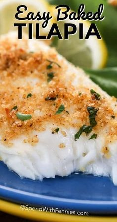 This easy baked tilapia recipe is crowned with a delicious parmesan crust. Dinne… This easy baked tilapia recipe is crowned with a delicious parmesan crust. Dinner is ready in just 15 minutes. Yummy Recipes, Easy Fish Recipes, Easy Meals, Cooking Recipes, Recipes Dinner, Tilapia Recipe Oven, Oven Baked Tilapia, Breaded Baked Fish, Gastronomia