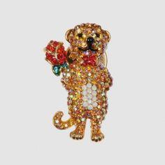 Tiny Crystal Meerkat Pin Brooch