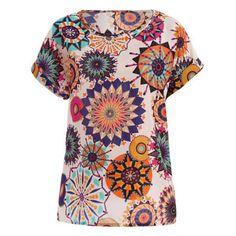 Tribal Bohemian Women's Plus Size Scoop Neck Floral Print Blouse
