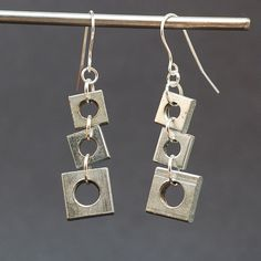 Salvaged Hardware Earrings- Silver Geometric Found Object Jewelry. $18.00, via Etsy.