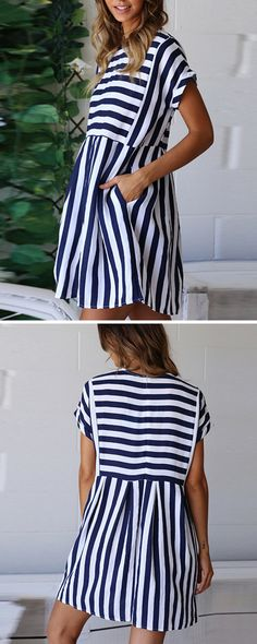 The dress is striped and loose. Linen Dresses, Cute Dresses, Casual Dresses, Sewing Dresses For Women, Clothes For Women, Clothing Patterns, Dress Patterns, Short Sleeve Dresses, Dresses With Sleeves