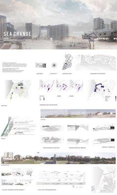 architecture presentation layout _ Sea Change - Edge of the sea by Dalia Munenzon - Sea Change A As Architecture, Architecture Graphics, Architecture Drawings, Project Presentation, Presentation Layout, Presentation Boards, Photoshop, Architecture Presentation Board, Architectural Presentation