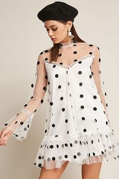 Selfie Leslie Sheer Polka Dot Dress