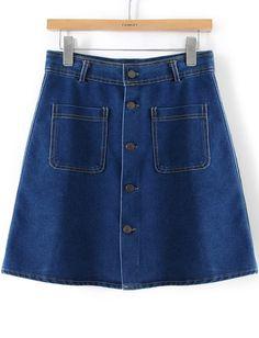 falda denim bolsillo botones-azul 15.99
