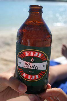 Fiji Bitter Beer – perfect in the hot Fijian sun. Fiji Food, Beverages, Drinks, Bitter, Beer Bottle, Paradise, Sun, Meat, Accessories