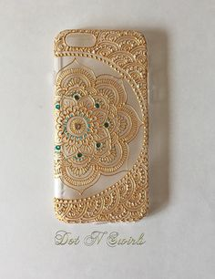 I phone 7 /7plus case designed with henna lotus mandala/ henna phone case/ gold/ bling/ personalized case/ ooak/ unique