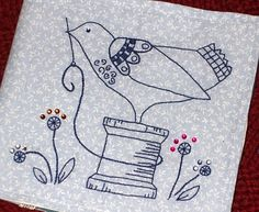 Embroidery Pattern of  Cotton Reel with Bird from  theroomsofmylife.blogspot.it. jwt