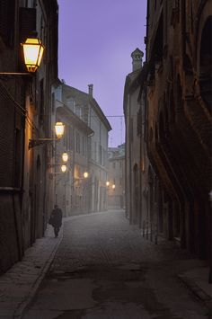 Fog in streets of Ferrara, Italy Remind me of harry potter? Yes? No? - emily(: