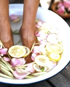 Relaxing foot bath 5 litres of water, 2 drops of lavender essential oil, 1/4 cup sea salt or Epsom salt Boil water and allow to cool down, add the lavender and salt soak your feet.  Two more recipes like this for feet on this page too