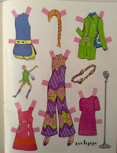 This super mod, groovy-cool, paper doll book from 1967 features the one and only, Twiggy! Baby Boomers will remember her as the far-out,