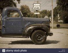 Usa, Illinois, Route 66, Williamsville, Old Gas Station, Gtruck Stock Photo