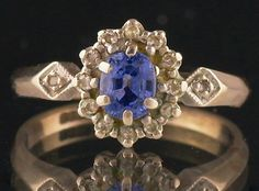 Sapphire Diamond Cluster Ring Size Vintage 9 carat White Gold UK size I by fkantique on Etsy Sapphire Rings, Diamond Cluster Ring, Sapphire Diamond, Antique Rings, White Gold Rings, Heart Ring, Yellow, Antiques, Etsy