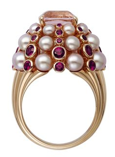 Cartier Paris Nouvelle Vague Ring, 18K Rose Gold, Morganite, Spinels, Cultured Freshwater Pearls, $23,700, Cartier.us. (Photo: Vincent Wulveryck/Cartier).