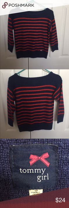 Tommy Girl Red And Navy Striped Sweater In great condition! Only worn a few times. The sweater is slightly cropped and has a wide scoop neck. The sleeves are 3/4 length! Make me an offer! Tommy Hilfiger Sweaters Crew & Scoop Necks