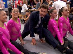 Ryan Seacrest shows his 'flexibility' with U.S. gymnasts... And this is why we love him <<33