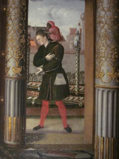 """Detail of Will Sommers, Fool to the Tudors, from """"The Family of Henry VIII"""", at Hampton Court Palace. Photo by BeingBess."""