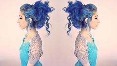 Blue hair updo