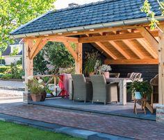 Luxe tuinkamer met berging, Andel   Bronkhorst Buitenleven Outdoor Garden Rooms, Backyard Seating, Gazebo, Outdoor Structures, Outdoors, Storage, Gardens, Wood, Beach Shack