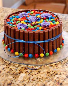 Kit Kat birthday cake with chocolate candies.