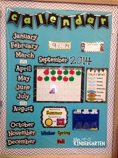 Kindergarten Classroom - Having the months in order and the days of the week in order so they can see where the month falls in huge year- something to think about Kindergarten Classroom Setup, Miss Kindergarten, Classroom Organisation, New Classroom, Spanish Classroom, Classroom Displays, Classroom Decor, Kindergarten Pictures, Kindergarten Calendar