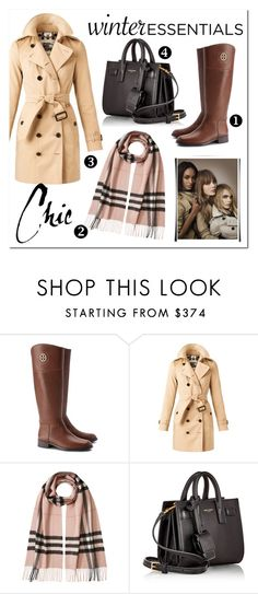 """essentials"" by milimacculloch ❤ liked on Polyvore featuring Tory Burch, Burberry and Yves Saint Laurent"