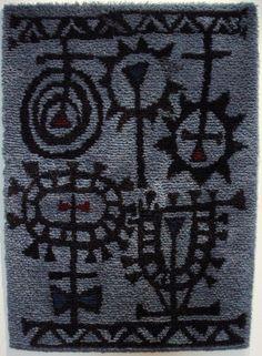 Timo Sarpaneva; Wool 'Sysymiilu' Rya Rug, 1949.