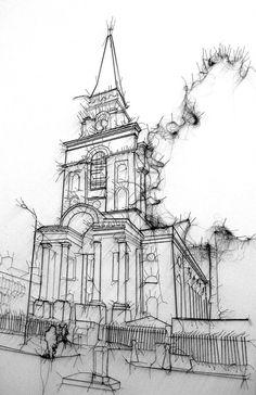 Zeichnung, gestickt, Architekturstrich