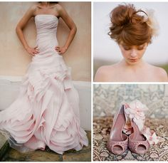 IN LOVE with this Vera Wang dress: Organza Fit and Flare Gown with Bias Flange Skirt.  Love that it's a subtle pink, too!