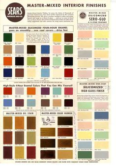 and paint colors from Sears' classic Harmony House collection is part of Mid century modern colors - A vintage paint chip sheet with and paint colors from Sears' classic Harmony House collection great for ideas to paint your retro ranch! Vintage Paint Colors, Modern Paint Colors, Modern Color Palette, Interior Paint Colors, Paint Colours, Wall Colours, Stain Colors, Mid Century Modern Colors, Mid Century Modern Furniture
