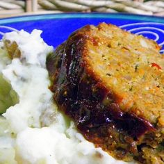 Spicy Garlicky Meat Loaf with horseradish mustard and BBQ sauce