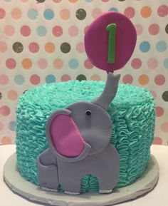 First birthday elephant smash cake.  Teal and pink.