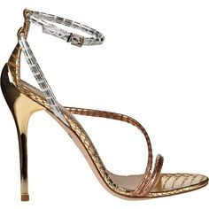 B BRIAN ATWOOD Labrea Evening Sandal Gold Multi Snake ($350) ❤ liked on Polyvore #stilettoheelsbrianatwood