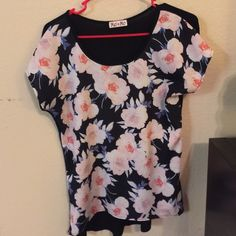 Mel and Mo Floral Top  T shirt material in back, breathable, comfy fabric, rose print in front. Comfy and cute !  Mel and Mo Tops Tees - Short Sleeve