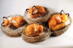 Sweet baby fox sleeping, who can resist? I needle felted each sweet kit with Vermont sourced wool that I dyed and drum carded. Sleeping Fox, Sleeping Animals, Needle Felted Animals, Felt Animals, Wet Felting, Needle Felting, Hobbies And Crafts, Arts And Crafts, Felt Fox