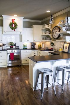 Stiers Aesthetic kitchen Christmas, industrial stools, white subway tile, hardwood, open sheles