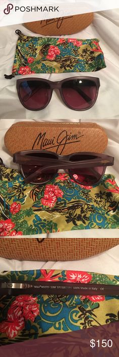 Maui Jim 273-13M Ailana Rose Matte Mauve. EUC! Maui Jim 273-13M Ailana Rose Matte Mauve Cat Eye Frames with Polarized Lens.  Technical Specifications:  Brand: Maui Jim Gender: Women Frame Colour: Matte Mauve Lens Colour: Maui Rose Polarized Frame Shape: Cat Eyes Frame Style: Full Rim Frame Material: Acetate Lens Material: Glass Made in Italy.  Comes with Genuine New Maui Jim Sport Sun/Eye Small Bamboo shape hard case, with poly lens draw string cleaning cloth bag. Maui Jim Accessories…
