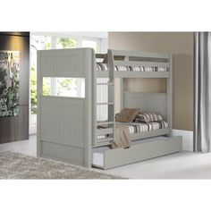 $860;When your family is growing and your space is not, Camaflexi's ultra-durable bunk bed collection offers the perfect solution. Constructed of solid wood, the upper bunk features front and rear safety guard rails. Both beds include slat roll foundations reinforced with their unique, extra sturdy, center rail support system. The attached, extra wide step ladder and safety guard rails are interchangeable so, you can position the ladder where you need it. All Camaflexi bunk beds are built to…
