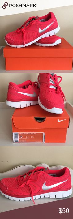 New in box Nike flex 2012 RN sneakers Never been worn Nike athletic shoes, vibrant coral color in person. Women's size 10. Nike Shoes Athletic Shoes