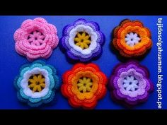 flor tejida a crochet o ganchillo N° 1para adornar gorros y el cabello paso a paso fácil y rápido - YouTube